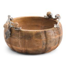 10in Pumpkin Wood Bowl   TJ Maxx