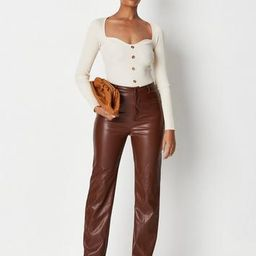 Missguided - Chocolate Faux Leather Split Hem Pants | Missguided (US & CA)