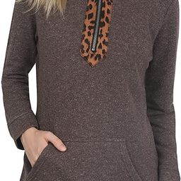 CORSKI Quarter Zip Pullover with Pockets for Women Long Sleeve Casual Leopard Color Block Sweatshirt | Amazon (US)