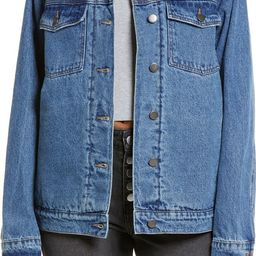 Denim Trucker Jacket with Faux Shearling Collar | Nordstrom