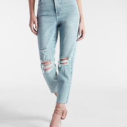 Super High Waisted Ripped Raw Hem Mom Jeans   Express