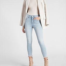Mid Rise Light Wash Raw Hem Cropped Skinny Jeans   Express