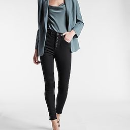 High Waisted Knit Supersoft Black Button Fly Skinny Jeans   Express