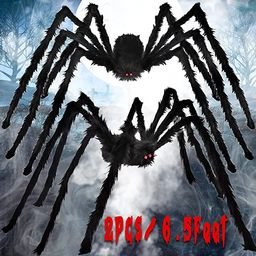 Aitok Halloween Spider Decorations (2 Pack), 6.5FT Scary Giant Spiders, Fake Hairy Spiders Props ... | Amazon (US)