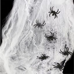 AOSTAR Halloween Stretch Spider Webs Indoor & Outdoor Spooky Spider Webbing with 50 Fake Spiders ... | Amazon (US)