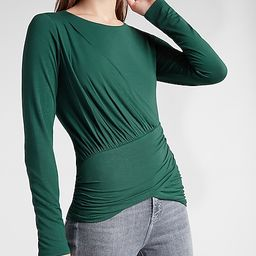 Solid Ruched Twist Front Long Sleeve Tee | Express