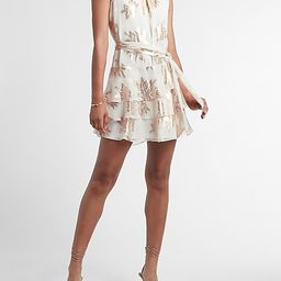 Metallic Print Tiered Ruffle Fit And Flare Dress | Express