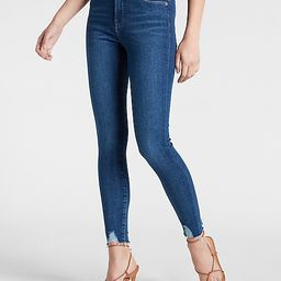 High Waisted Medium Wash Ripped Hem Skinny Jeans | Express