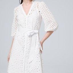 Petite Belted Eyelet Shirt Dress   White House Black Market