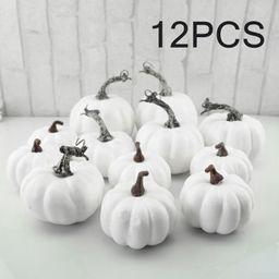 6/12Pcs Halloween White Artificial Pumpkins Harvest Fall Thanksgiving Home Decor - Walmart.com | Walmart (US)