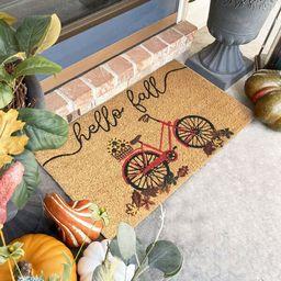 "Tremblant Hello Fall Bike Coir 30"" x 18"" Non-Slip Outdoor Door Mat | Wayfair North America"