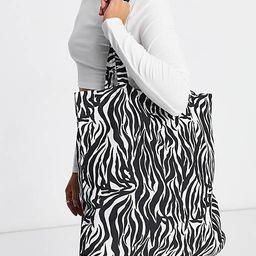 ASOS DESIGN organic cotton shopper bag in zebra print   ASOS   ASOS (Global)