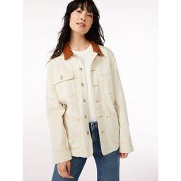Free Assembly Women's Barn Jacket with Corduroy Collar - Walmart.com   Walmart (US)