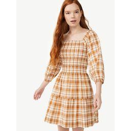 Free Assembly Women's Square Neck Smocked Mini Dress - Walmart.com   Walmart (US)