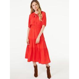 Scoop Women's Split Neck Tiered Midi Dress - Walmart.com   Walmart (US)