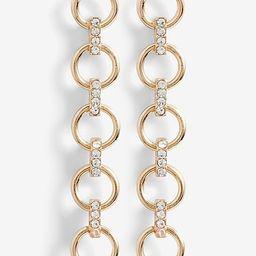 Gold Rhinestone Circle Chain Drop Earrings   Express