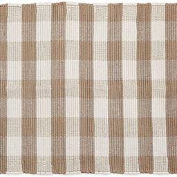 "DII Buffalo Check Rug Collection, Hand Dyed Reversible Chindi Rug, 26x40"", Stone/Cream | Amazon (US)"