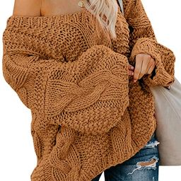 Astylish Womens Sexy Long Sleeve Off Shoulder Loose Cable Knit Pullover Sweater   Amazon (US)