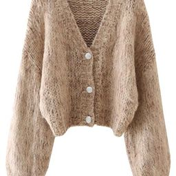 'Sophie' V-neck Mixed Knit Mohair Cardigan (4 Colors) | Goodnight Macaroon