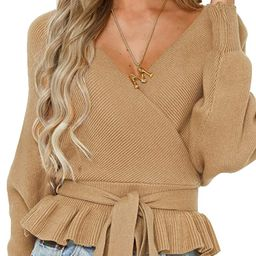 ZESICA Women's Wrap V Neck Long Batwing Sleeve Belted Waist Ruffle Knitted Sweater Pullover Top | Amazon (US)