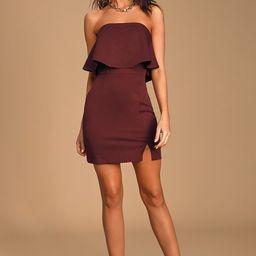Kiani Burgundy Strapless Bodycon Dress   Lulus (US)