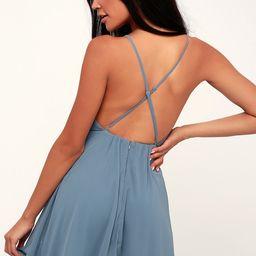 Letter of Love Slate Blue Backless Skater Dress   Lulus (US)