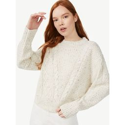 Free Assembly Women's Cable Mix Sweater with Long Sleeves - Walmart.com | Walmart (US)
