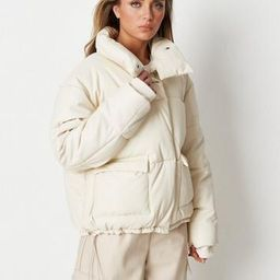 Missguided - White Faux Leather Puffer Jacket   Missguided (US & CA)