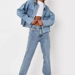 Missguided - Blue Pleat Back 80's Denim Jacket   Missguided (US & CA)