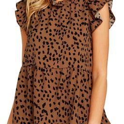 Women Ruffled Sleeve Button Closure Polka Dots Printed Pleated Shirt - Walmart.com   Walmart (US)