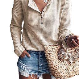 Womens Henley Blouse Button Down Pullover Knit Long Sleeve Lightweight Shirts Tops - Walmart.com   Walmart (US)