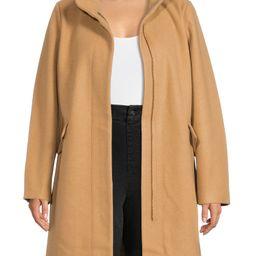 Time and Tru Women's Faux Wool Funnel Neck Coat - Walmart.com   Walmart (US)