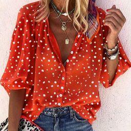 Women's New Long-Sleeved V-neck Button Shirt - Walmart.com   Walmart (US)