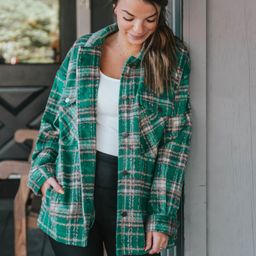 Warm Up Your Heart Green Plaid Shacket   Apricot Lane Boutique