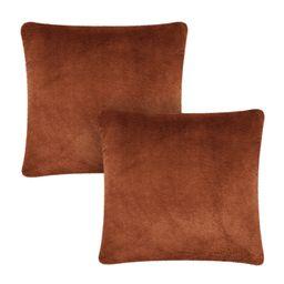"Better Homes & Gardens Plush Faux Rabbit Fur Decorative Throw Pillow, 20"" x 20"",Brown, 2 Pack - W... | Walmart (US)"