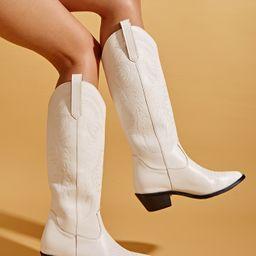 Minimalist Graphic Chunky Heeled Western Boots   SHEIN