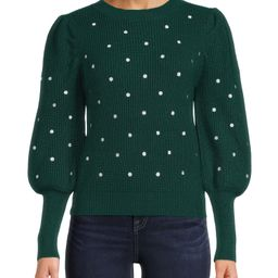 Dreamers by Debut Women's Embroidered Polka Dot Pullover with Puff Sleeves - Walmart.com   Walmart (US)