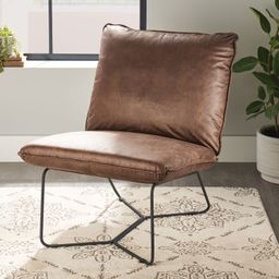 Better Homes & Gardens Pillow Lounge Chair, Brown Faux Leather Upholstery - Walmart.com | Walmart (US)