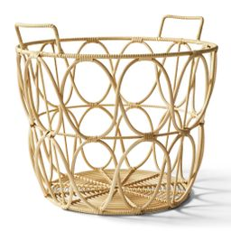 Better Homes & Gardens Large Natural Poly Rattan Open Weave Round Basket - Walmart.com | Walmart (US)