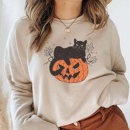 Black Cat on Pumpkin Sweatshirt Sweater for fall Black Cat   Etsy   Etsy (US)