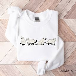Halloween Sweatshirt Cat Sweatshirt Ghost Shirt Halloween   Etsy   Etsy (US)
