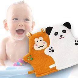 2 Pieces Baby Bath Mitt Washcloths Designed in Nice Animal Style - Sponge Cute Panda Fun Panda - ... | Amazon (US)