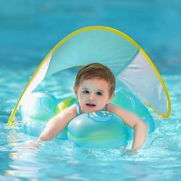 Free Swimming Baby Inflatable Baby Swimming Float with Bottom Support and Retractable Fabric Cano... | Amazon (US)