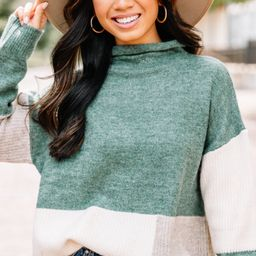 Speak To Your Heart Hunter Green Colorblock Sweater | The Mint Julep Boutique