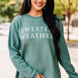 Sweater Weather Green Corded Graphic Sweatshirt | The Mint Julep Boutique