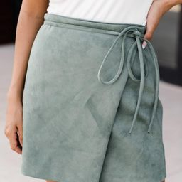 Other Half Of Me Olive Tie Waist Suede Skirt | The Pink Lily Boutique