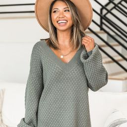 Keep On Smiling V-Neck Sage Sweater | The Pink Lily Boutique