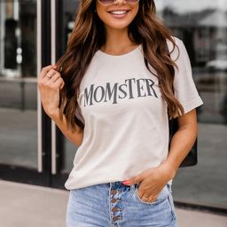 Momster Graphic Tan Tee   The Pink Lily Boutique