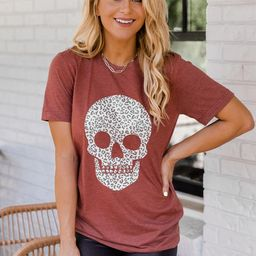 Animal Print Skull Rust Graphic Tee   The Pink Lily Boutique