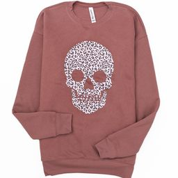 Animal Print Skull Mauve Graphic Sweatshirt   The Pink Lily Boutique